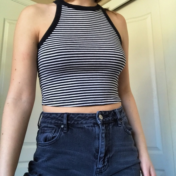 9f89c3c53ef Forever 21 Tops | Black And White Striped Halter Tank Top | Poshmark